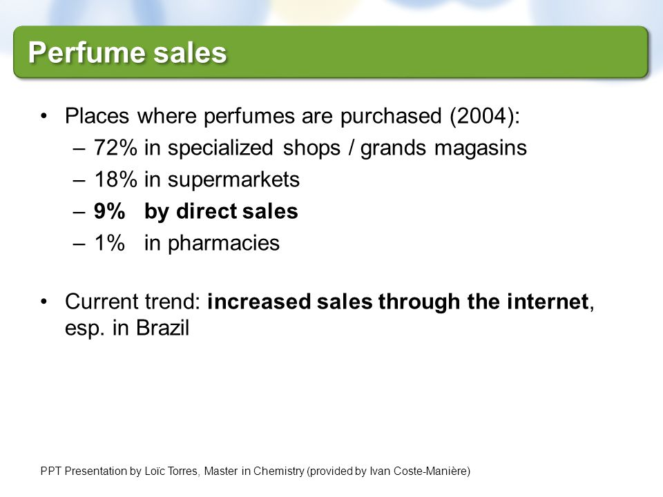 Places where perfumes are purchased (2004): –72% in specialized shops / grands magasins –18% in supermarkets –9% by direct sales –1% in pharmacies Cur