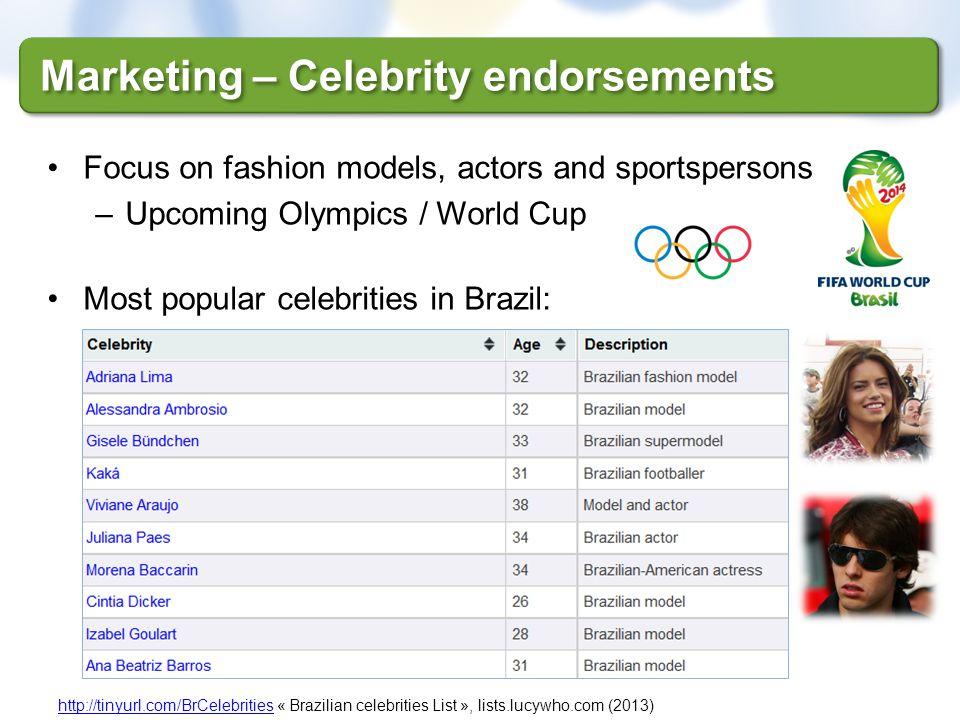 Marketing – Celebrity endorsements http://tinyurl.com/BrCelebritieshttp://tinyurl.com/BrCelebrities « Brazilian celebrities List », lists.lucywho.com