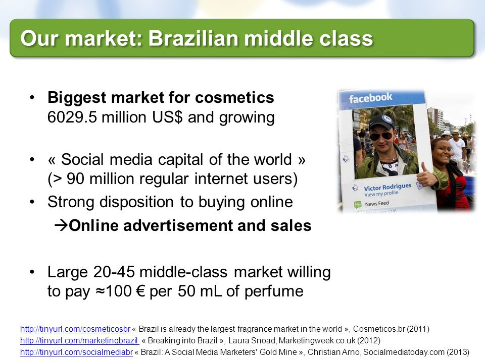 Our market: Brazilian middle class Biggest market for cosmetics 6029.5 million US$ and growing « Social media capital of the world » (> 90 million reg