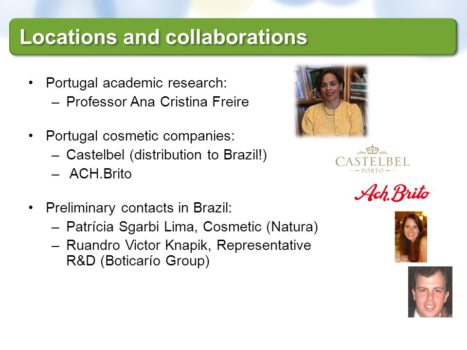 Locations and collaborations Portugal academic research: –Professor Ana Cristina Freire Portugal cosmetic companies: –Castelbel (distribution to Brazi