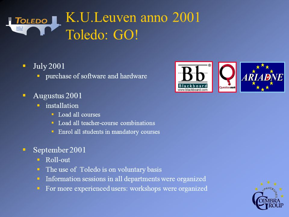 July 2001 purchase of software and hardware Augustus 2001 installation Load all courses Load all teacher-course combinations Enrol all students in man