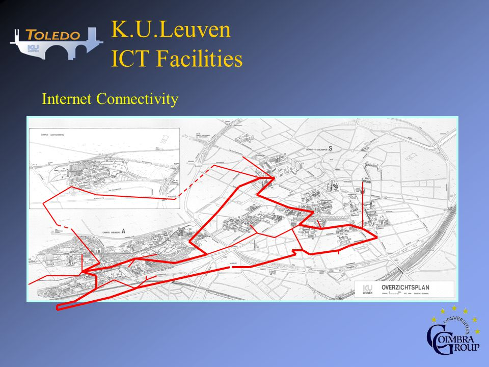 PC Classrooms Public accessible 24 hours / day, 6 days a week 17 classrooms, 500 PCs internet connectivity via KULeuvenNet Reservations for class activities or individual use Printer facilities by using print cards K.U.Leuven ICT Facilities