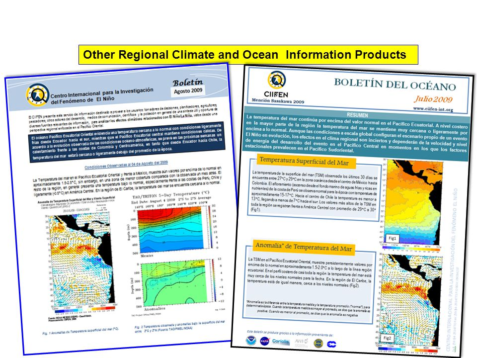 Other Regional Climate and Ocean Information Products