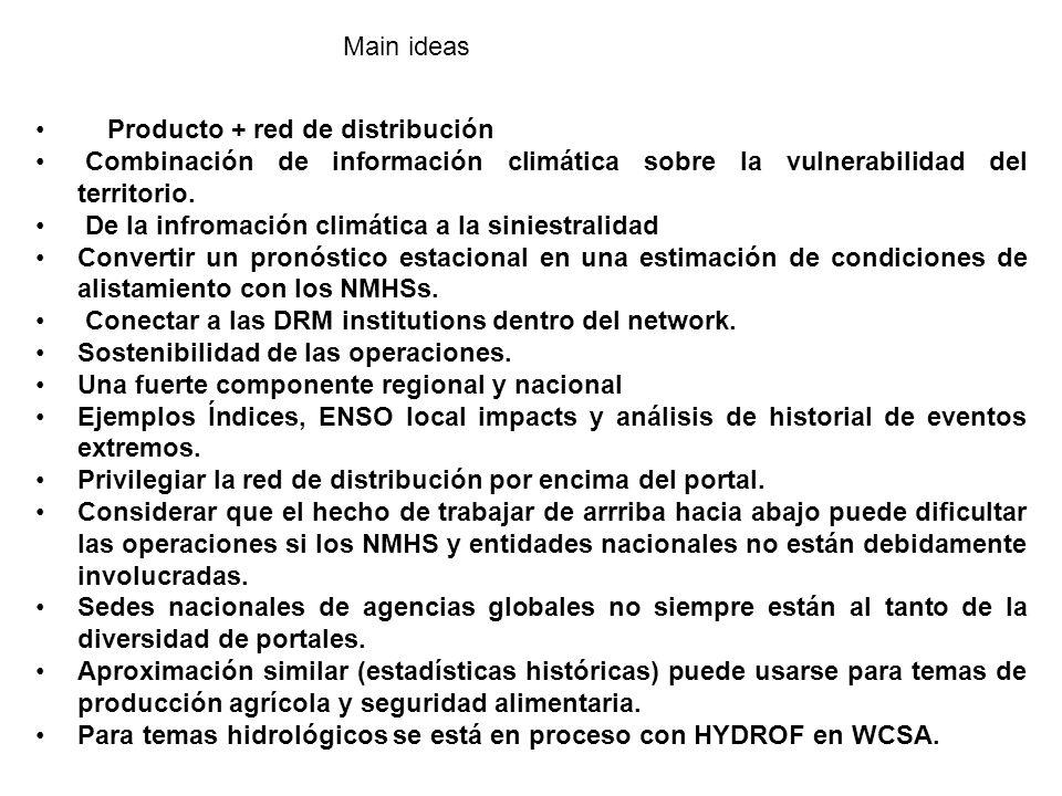 Producto + red de distribución Combinación de información climática sobre la vulnerabilidad del territorio.