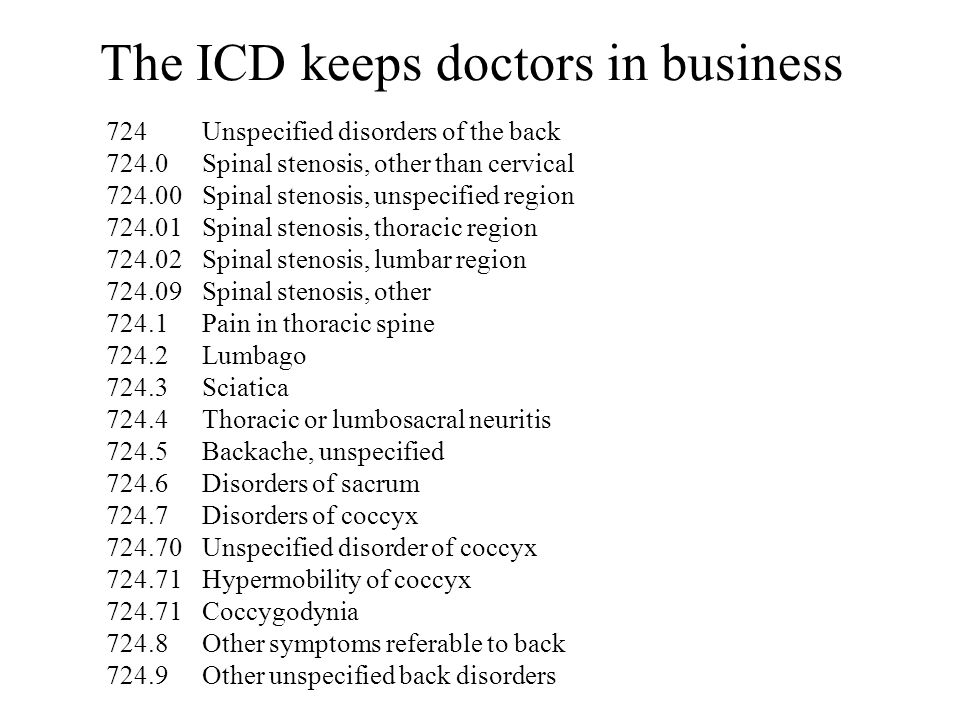 The ICD keeps doctors in business 724Unspecified disorders of the back 724.0Spinal stenosis, other than cervical 724.00Spinal stenosis, unspecified region 724.01Spinal stenosis, thoracic region 724.02Spinal stenosis, lumbar region 724.09Spinal stenosis, other 724.1Pain in thoracic spine 724.2Lumbago 724.3Sciatica 724.4Thoracic or lumbosacral neuritis 724.5Backache, unspecified 724.6Disorders of sacrum 724.7Disorders of coccyx 724.70Unspecified disorder of coccyx 724.71Hypermobility of coccyx 724.71Coccygodynia 724.8Other symptoms referable to back 724.9Other unspecified back disorders
