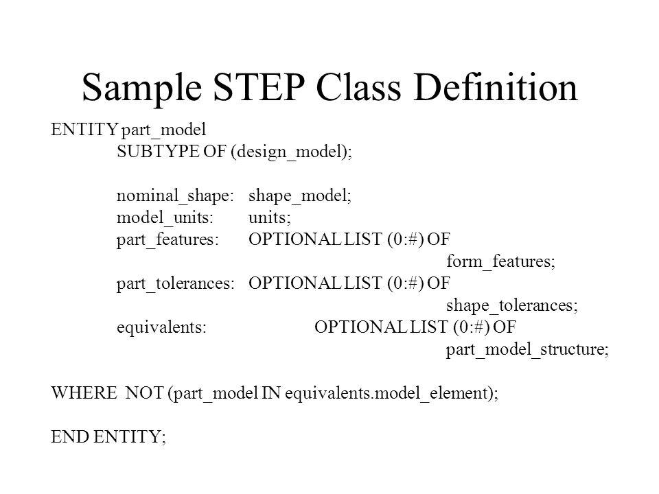 Sample STEP Class Definition ENTITY part_model SUBTYPE OF (design_model); nominal_shape:shape_model; model_units:units; part_features:OPTIONAL LIST (0:#) OF form_features; part_tolerances:OPTIONAL LIST (0:#) OF shape_tolerances; equivalents:OPTIONAL LIST (0:#) OF part_model_structure; WHERE NOT (part_model IN equivalents.model_element); END ENTITY;
