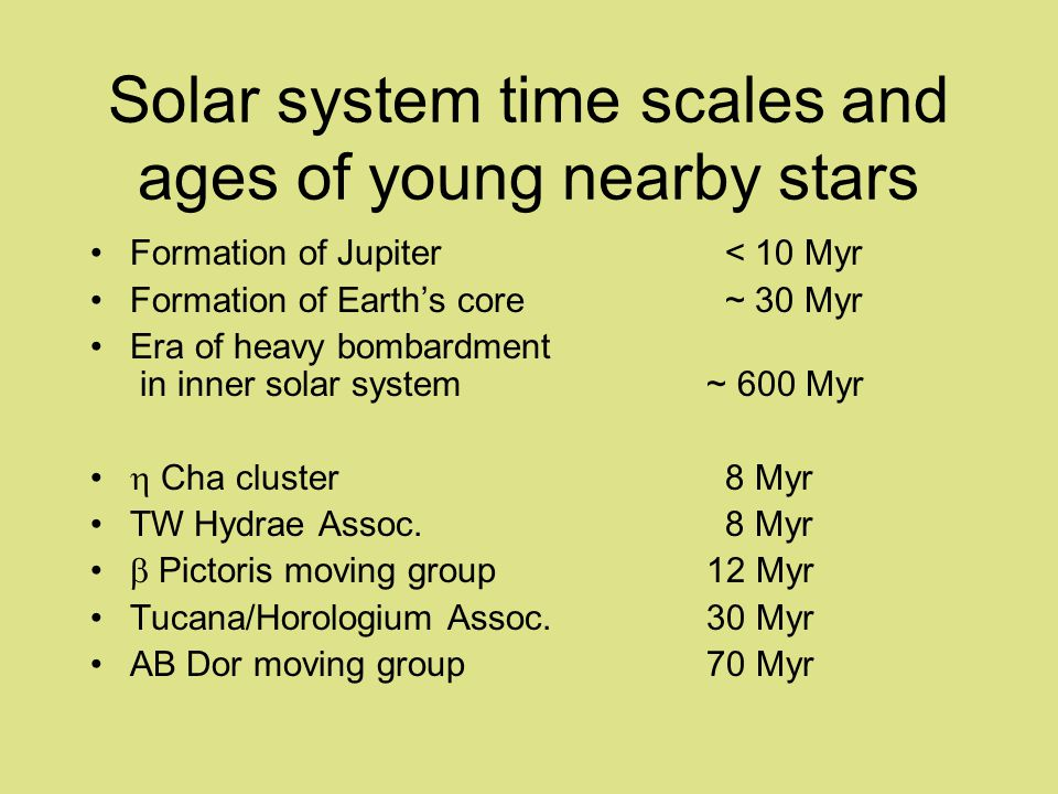 Solar system time scales and ages of young nearby stars Formation of Jupiter< 10 Myr Formation of Earths core~ 30 Myr Era of heavy bombardment in inner solar system ~ 600 Myr Cha cluster8 Myr TW Hydrae Assoc.8 Myr Pictoris moving group 12 Myr Tucana/Horologium Assoc.