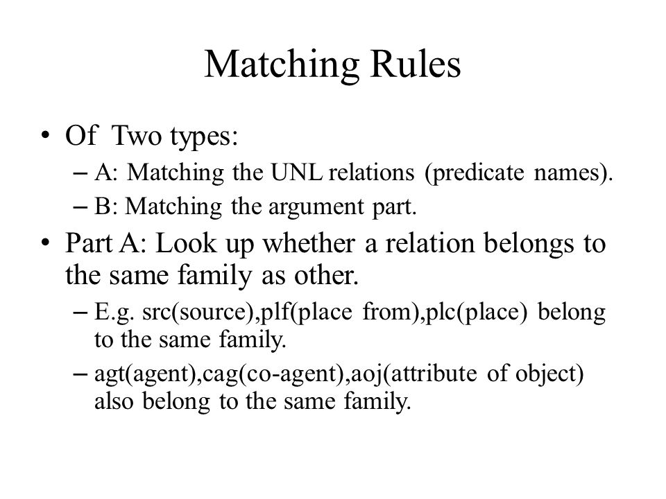 Matching Rules Of Two types: – A: Matching the UNL relations (predicate names).