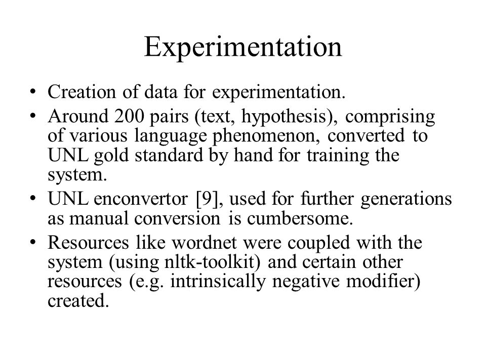 Experimentation Creation of data for experimentation.