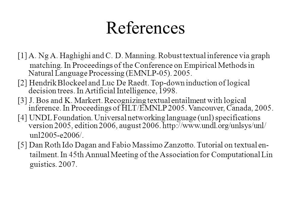 References [1] A. Ng A. Haghighi and C. D. Manning.