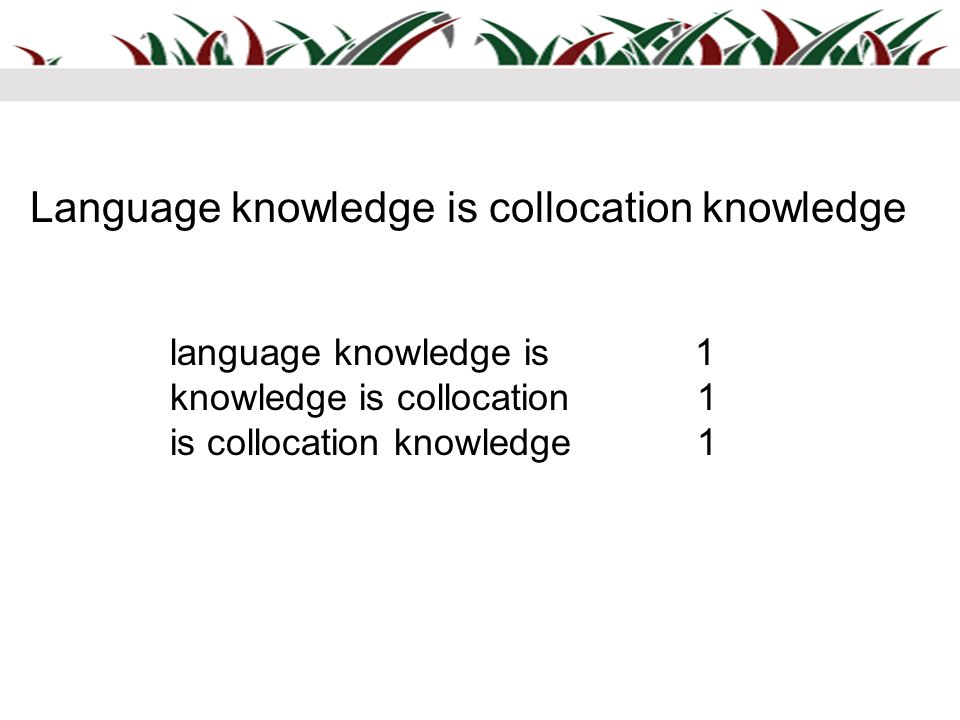 language knowledge is 1 knowledge is collocation 1 is collocation knowledge 1 Language knowledge is collocation knowledge