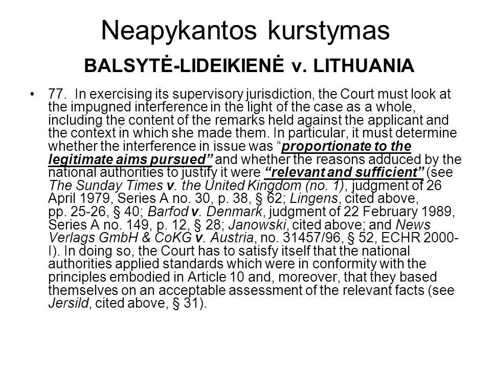 Neapykantos kurstymas BALSYTĖ-LIDEIKIENĖ v. LITHUANIA 77. In exercising its supervisory jurisdiction, the Court must look at the impugned interference