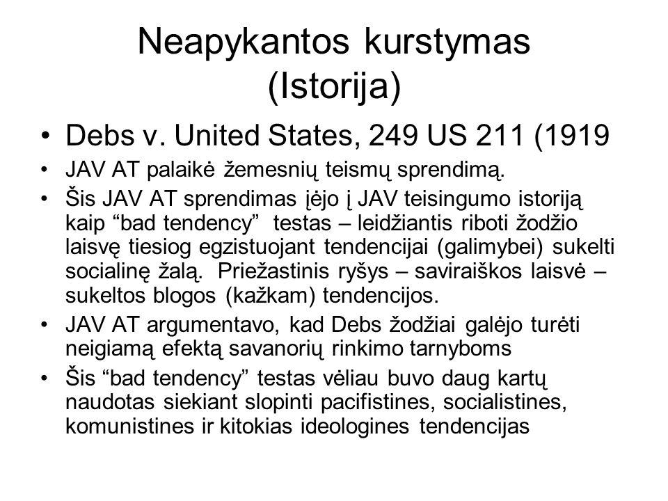 Neapykantos kurstymas (Istorija) Debs v. United States, 249 US 211 (1919 JAV AT palaikė žemesnių teismų sprendimą. Šis JAV AT sprendimas įėjo į JAV te