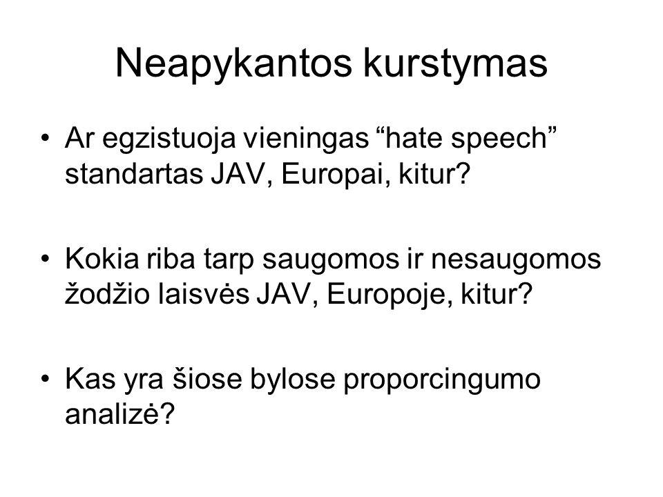 Neapykantos kurstymas Ar egzistuoja vieningas hate speech standartas JAV, Europai, kitur? Kokia riba tarp saugomos ir nesaugomos žodžio laisvės JAV, E