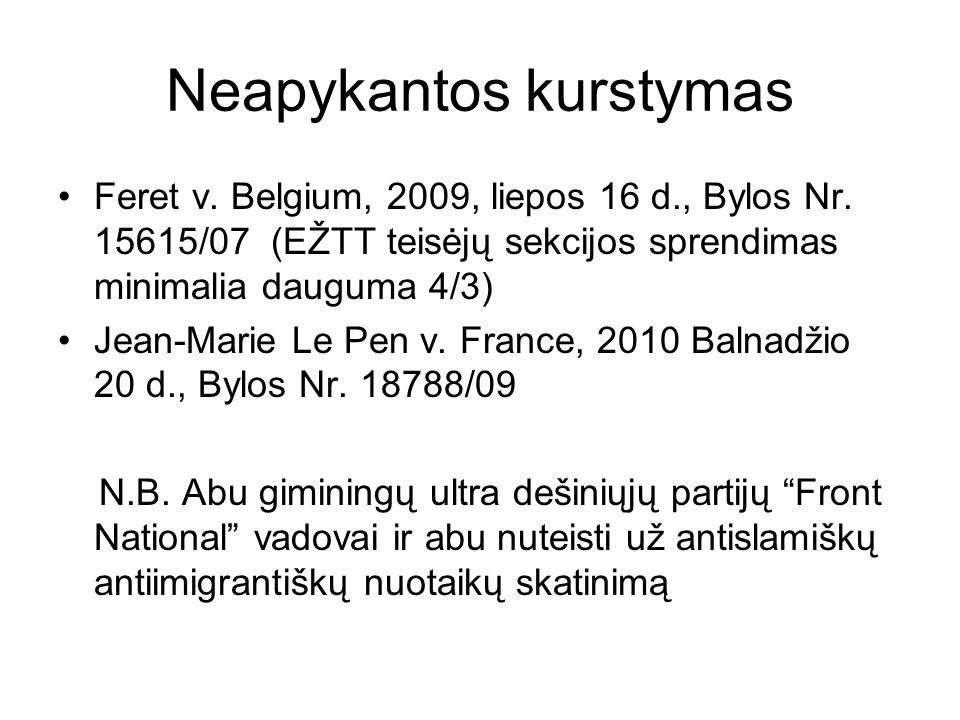 Neapykantos kurstymas Feret v. Belgium, 2009, liepos 16 d., Bylos Nr. 15615/07 (EŽTT teisėjų sekcijos sprendimas minimalia dauguma 4/3) Jean-Marie Le