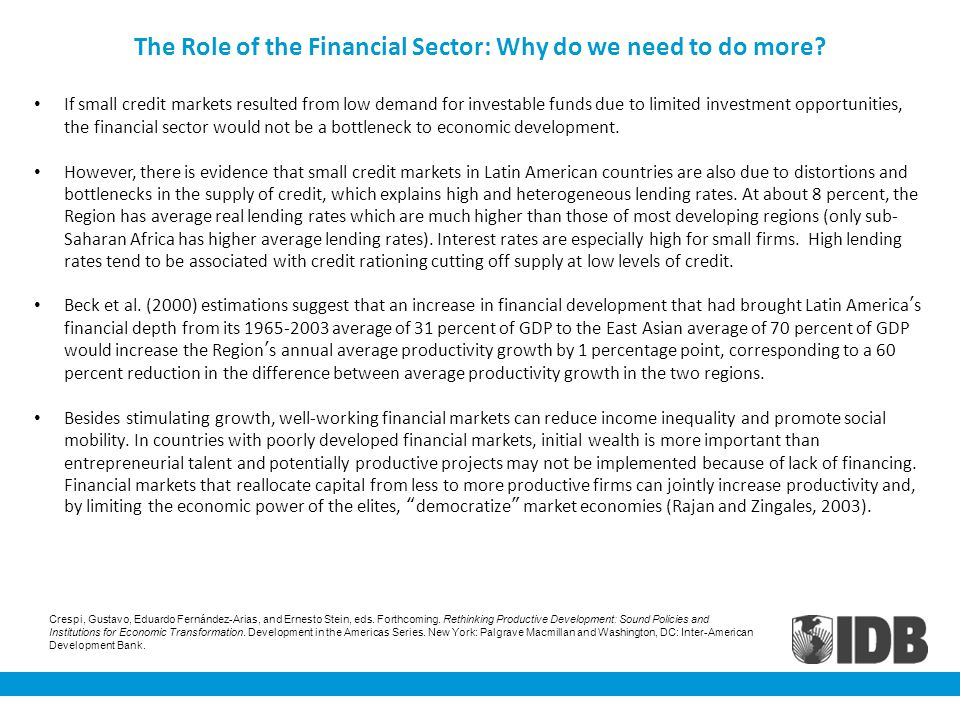 The Role of the Financial Sector: Why do we need to do more.