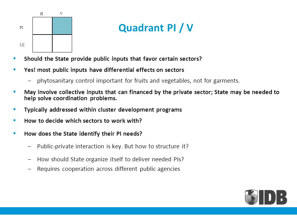 Quadrant PI / V Should the State provide public inputs that favor certain sectors? Yes! most public inputs have differential effects on sectors –phyto