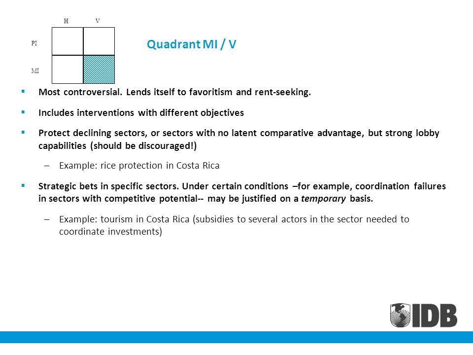 Quadrant MI / V Most controversial. Lends itself to favoritism and rent-seeking. Includes interventions with different objectives Protect declining se