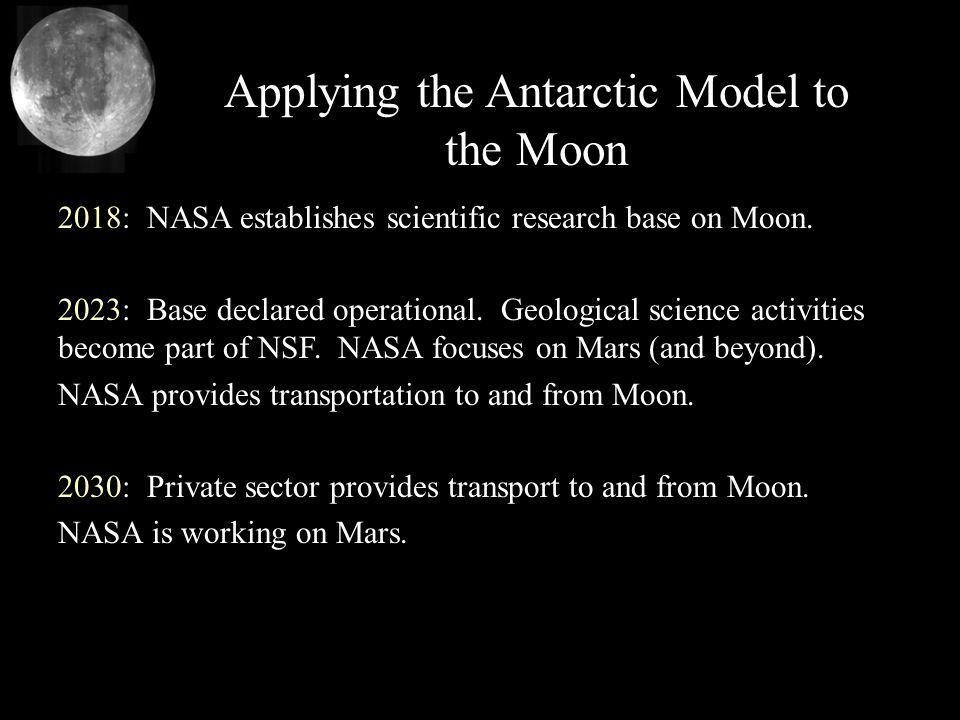 Applying the Antarctic Model to the Moon 2018: NASA establishes scientific research base on Moon. 2023: Base declared operational. Geological science