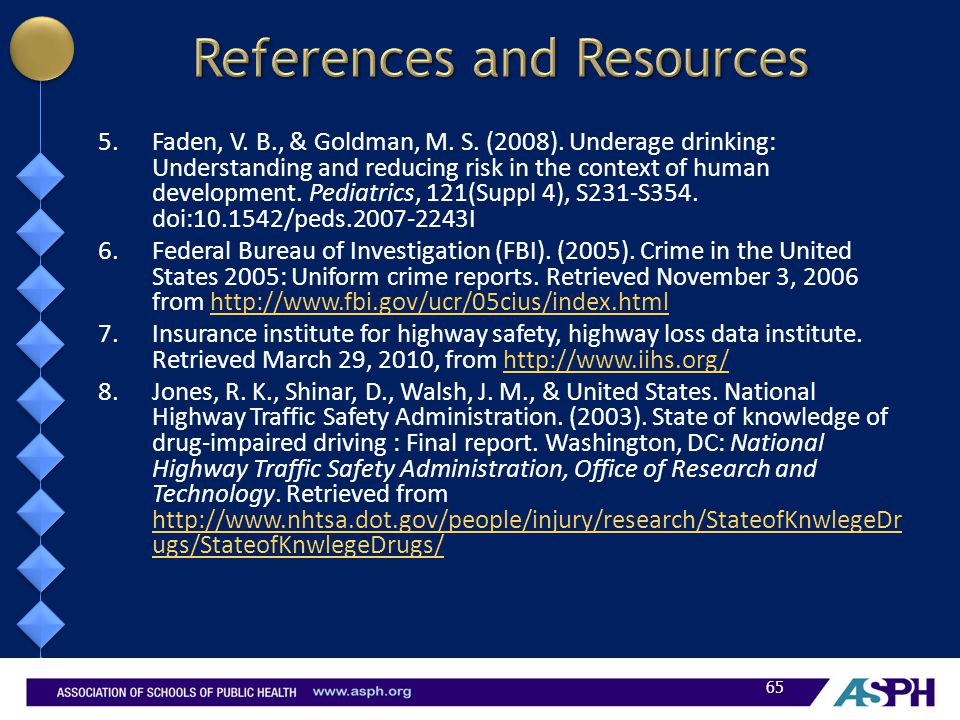 5.Faden, V. B., & Goldman, M. S. (2008). Underage drinking: Understanding and reducing risk in the context of human development. Pediatrics, 121(Suppl