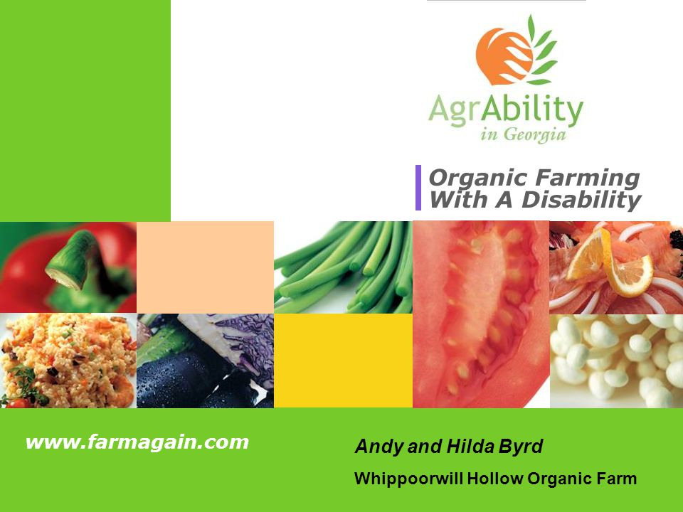 www.farmagain.com Overview Whippoorwill Hollow Organic Farm AgrAbility in GA Organic Farming Overview of our farm Our involvement with the AgrAbility in GA Program What is organic farming, advantages for someone with a disability, how to start an organic farm