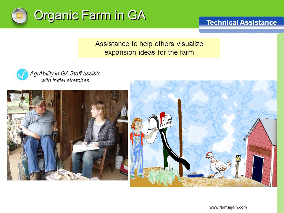 www.farmagain.com Organic Farm in GA Technical Assistance AgrAbility in GA Staff assists with initial sketches Assistance to help others visualize exp