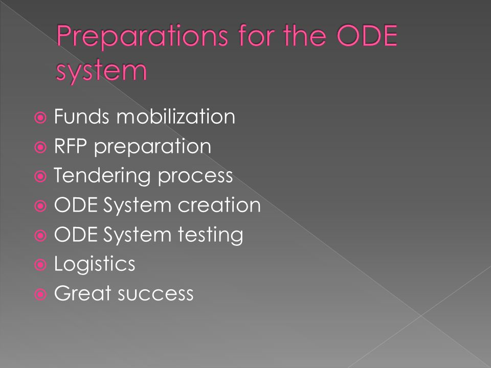 Funds mobilization RFP preparation Tendering process ODE System creation ODE System testing Logistics Great success