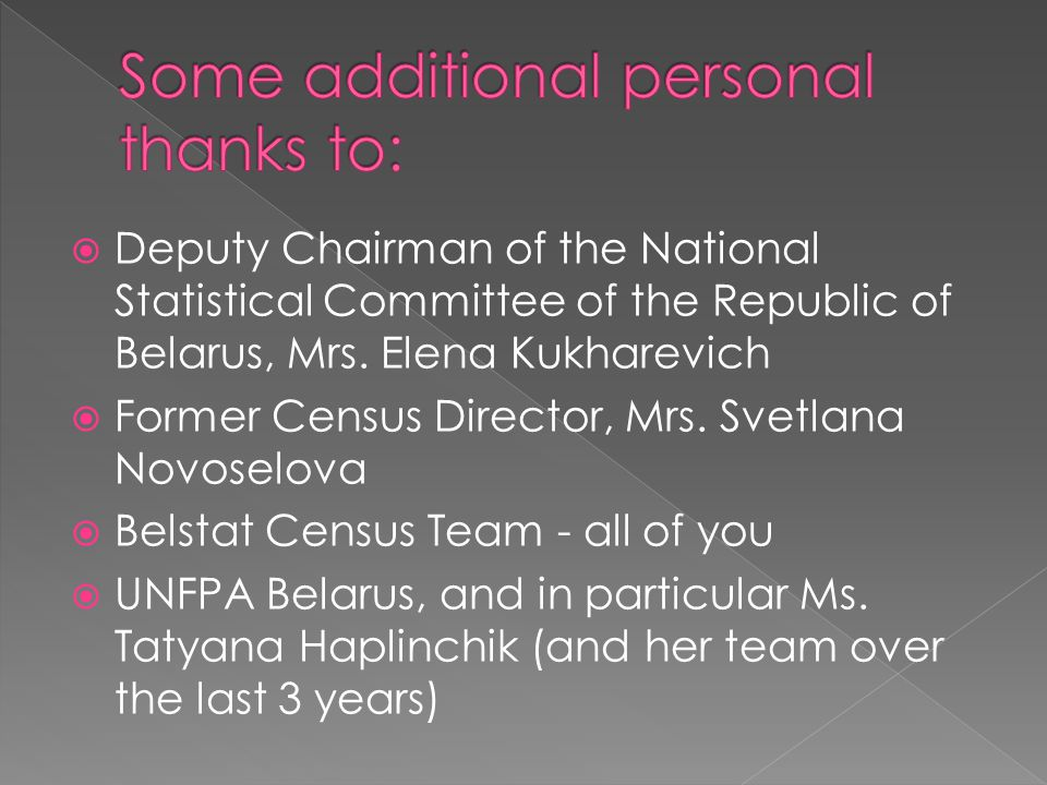 Deputy Chairman of the National Statistical Committee of the Republic of Belarus, Mrs.