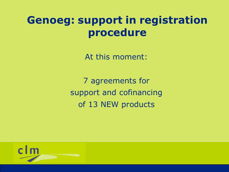 Genoeg: Succesfull support Authorised products with support of Genoeg: DIPPER (ascorbic acid): for disinfestation of bulbs TRIANUM (Trichoderma harzianum): plant strengtheners BOTANIGARD (Beauveria bassiana): against white flies in vegetables and flowers ENZICUR (potassium-iodide and -thiocyanate): against mildew in roses etc.