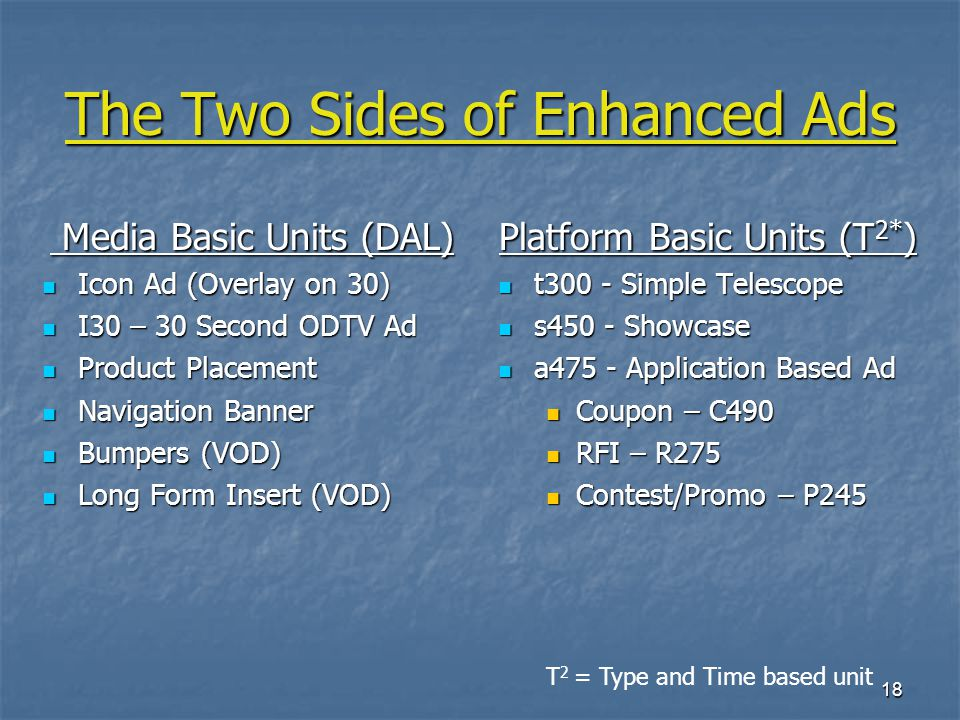 18 The Two Sides of Enhanced Ads Media Basic Units (DAL) Media Basic Units (DAL) Icon Ad (Overlay on 30) Icon Ad (Overlay on 30) I30 – 30 Second ODTV Ad I30 – 30 Second ODTV Ad Product Placement Product Placement Navigation Banner Navigation Banner Bumpers (VOD) Bumpers (VOD) Long Form Insert (VOD) Long Form Insert (VOD) Platform Basic Units (T 2* ) t300 - Simple Telescope t300 - Simple Telescope s450 - Showcase s450 - Showcase a475 - Application Based Ad a475 - Application Based Ad Coupon – C490 RFI – R275 Contest/Promo – P245 T 2 = Type and Time based unit