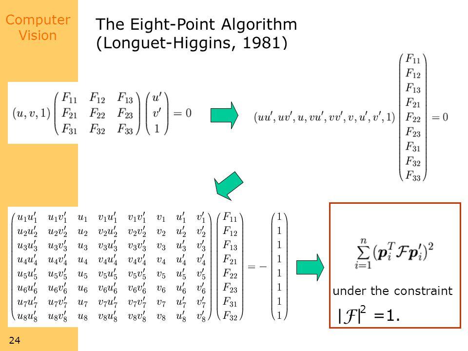 Computer Vision 24 The Eight-Point Algorithm (Longuet-Higgins, 1981) | F | =1. Minimize: under the constraint 2