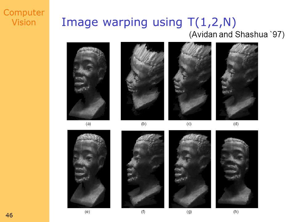 Computer Vision 46 Image warping using T(1,2,N) (Avidan and Shashua `97)
