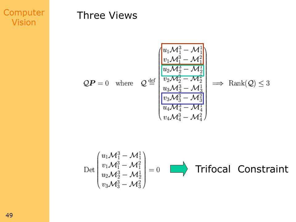 Computer Vision 49 Three Views Trifocal Constraint