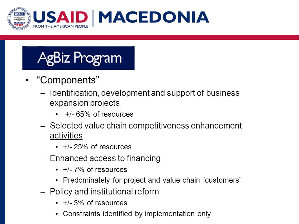 Components –Identification, development and support of business expansion projects +/- 65% of resources –Selected value chain competitiveness enhancement activities +/- 25% of resources –Enhanced access to financing +/- 7% of resources Predominately for project and value chain customers –Policy and institutional reform +/- 3% of resources Constraints identified by implementation only
