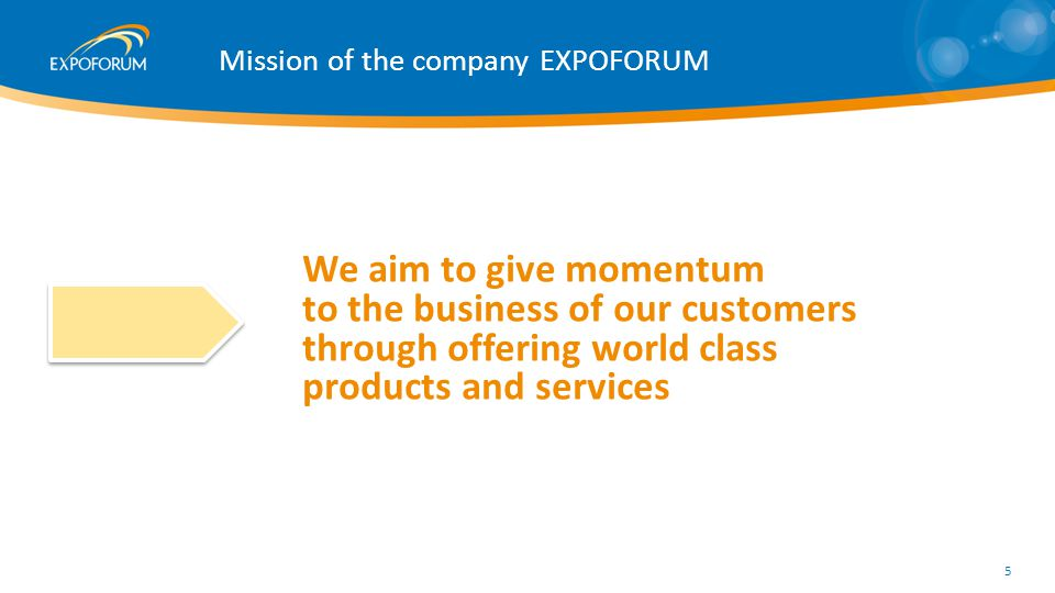 Mission of the company EXPOFORUM We aim to give momentum to the business of our customers through offering world class products and services 5