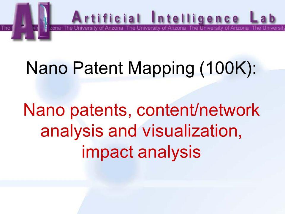 Nano Patent Mapping (100K): Nano patents, content/network analysis and visualization, impact analysis
