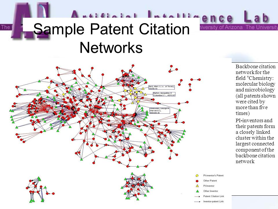 Sample Patent Citation Networks Backbone citation network for the field Chemistry: molecular biology and microbiology (all patents shown were cited by more than five times) PI-inventors and their patents form a closely linked cluster within the largest connected component of the backbone citation network