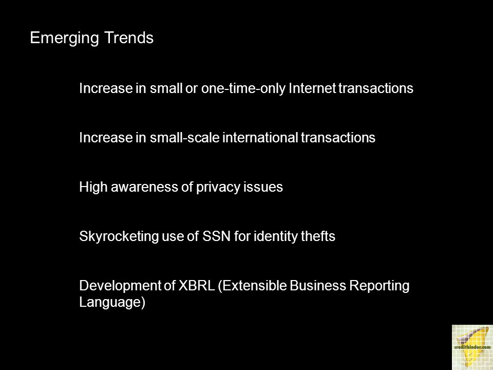 Emerging Trends Increase in small or one-time-only Internet transactions Increase in small-scale international transactions High awareness of privacy issues Skyrocketing use of SSN for identity thefts Development of XBRL (Extensible Business Reporting Language)