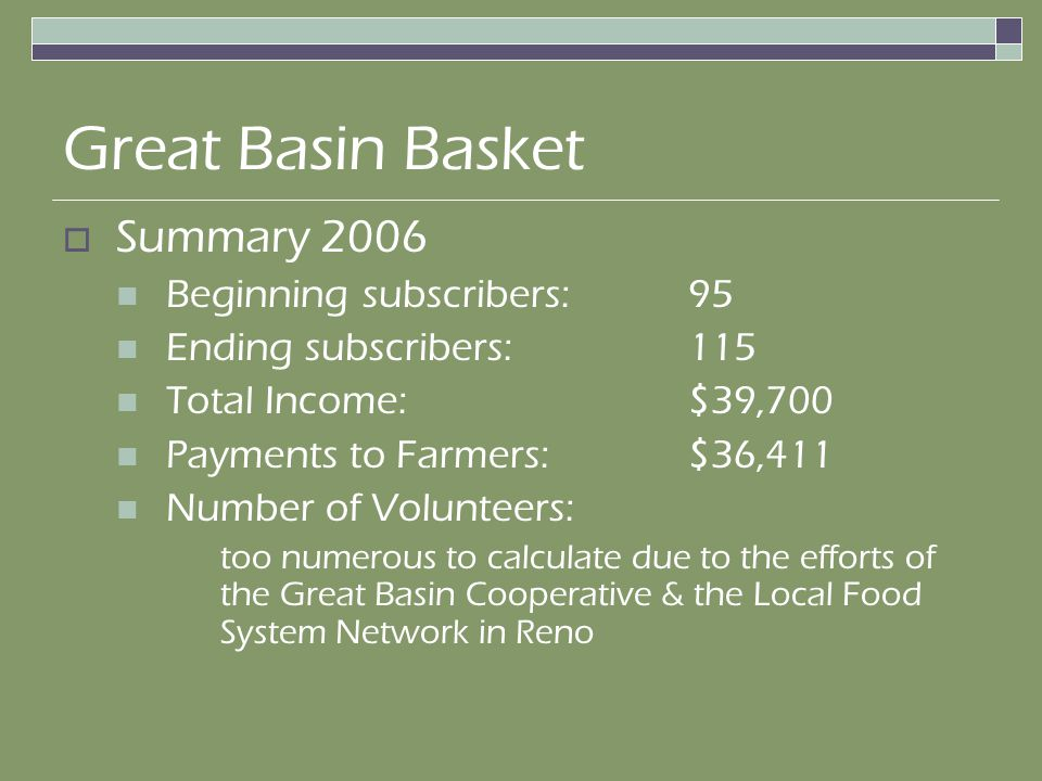 Summary 2006 Beginning subscribers: 95 Ending subscribers: 115 Total Income:$39,700 Payments to Farmers:$36,411 Number of Volunteers: too numerous to calculate due to the efforts of the Great Basin Cooperative & the Local Food System Network in Reno