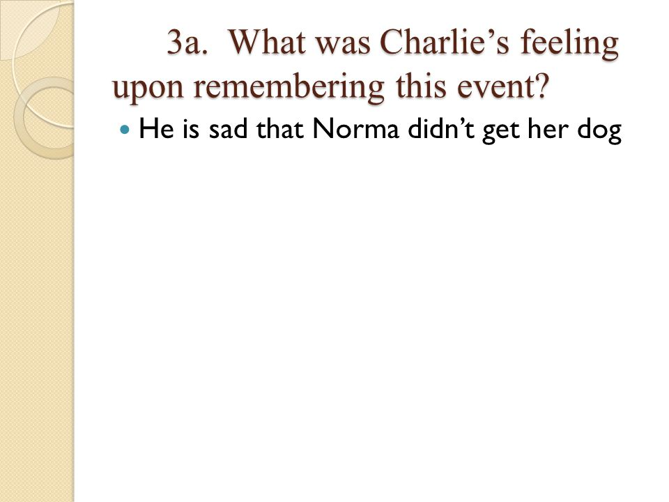 3a.What was Charlies feeling upon remembering this event.
