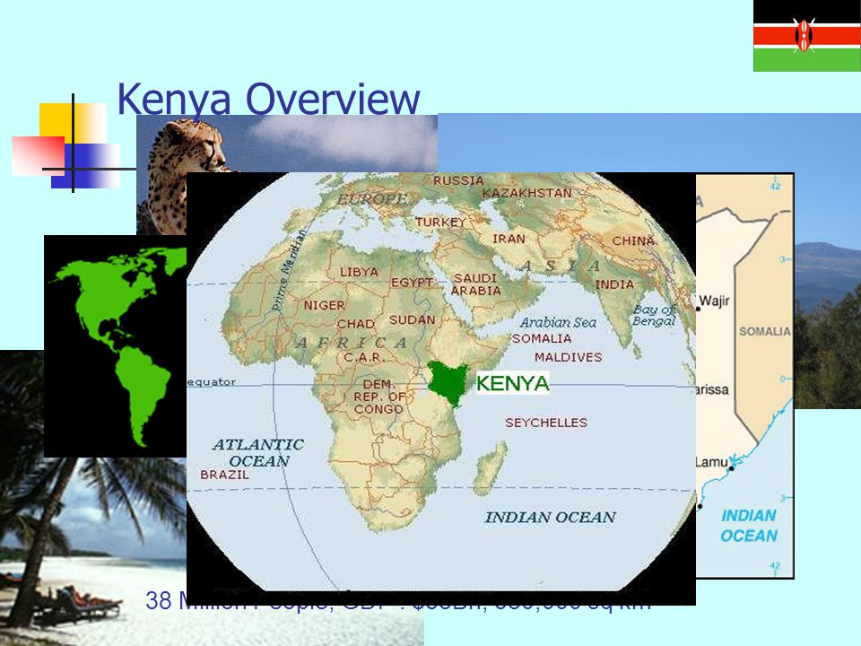 38 Million People, GDP : $38Bn, 580,000 sq km Kenya Overview