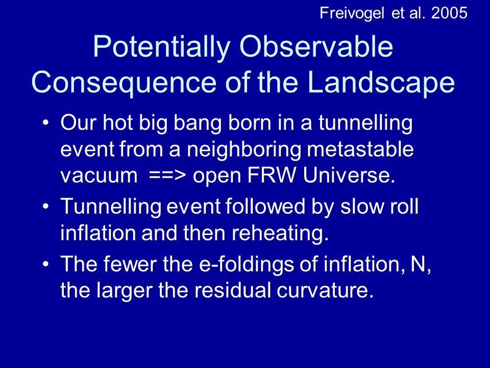 Potentially Observable Consequence of the Landscape Our hot big bang born in a tunnelling event from a neighboring metastable vacuum ==> open FRW Universe.