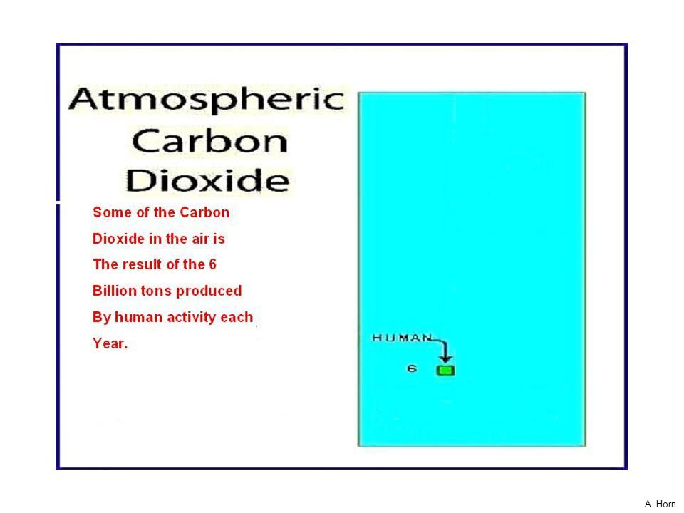 Cf.,A. Horn Given a 100,000 person stadium. If each person stood for one molecule of the atmosphere… then about 40 people stand for all the CO2 molecu