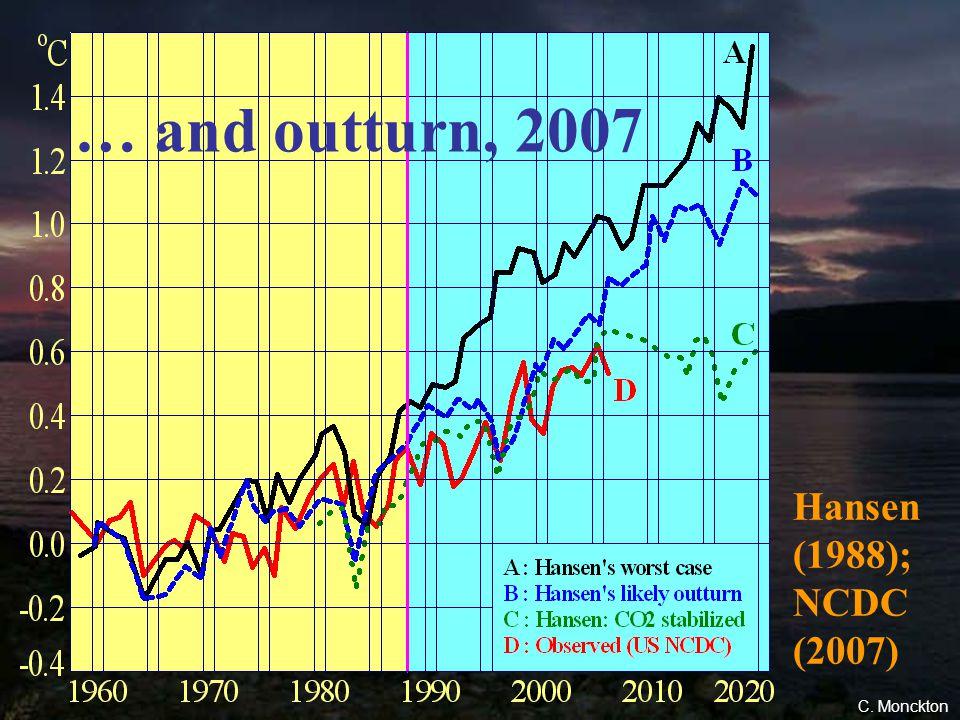 50 Hansen (1988) Prediction, 1988 … The graph that started the scare C. Monckton