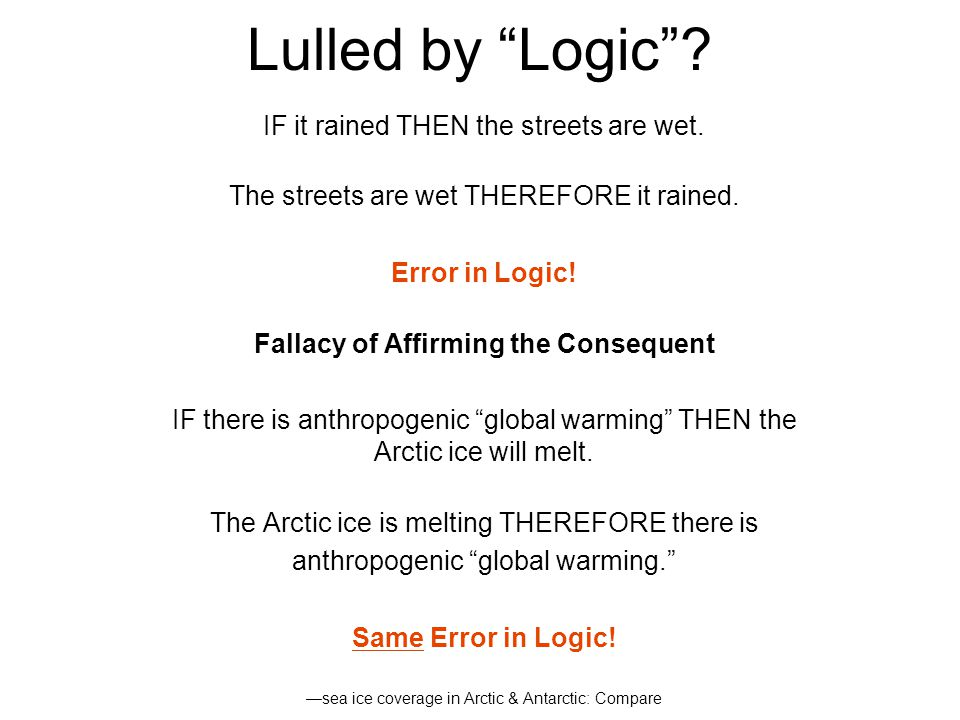 Methodological Errors Affirming the Consequent Appeal to Numbers Consensus Appeal to Authority Post-normal Science Ad hominem Precautionary Principle