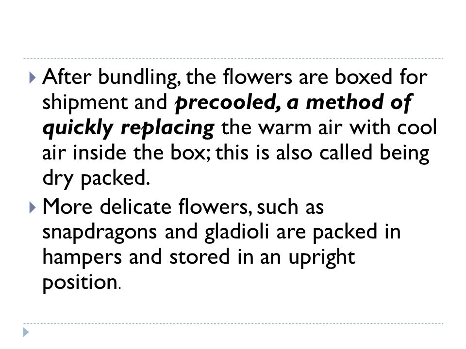 After bundling, the flowers are boxed for shipment and precooled, a method of quickly replacing the warm air with cool air inside the box; this is als