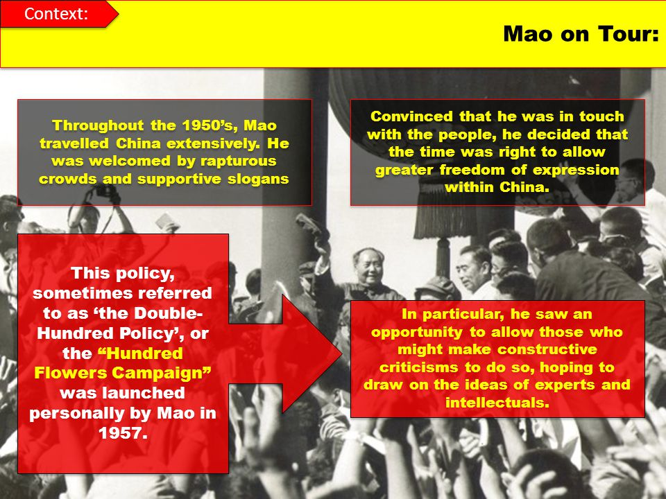 Raise revolutionary violence, oppose slackers, resolutely eliminate all revolutionary Maos attacks on intellectuals broadened into a general campaign of repression, known as the Anti-Rightist campaign.