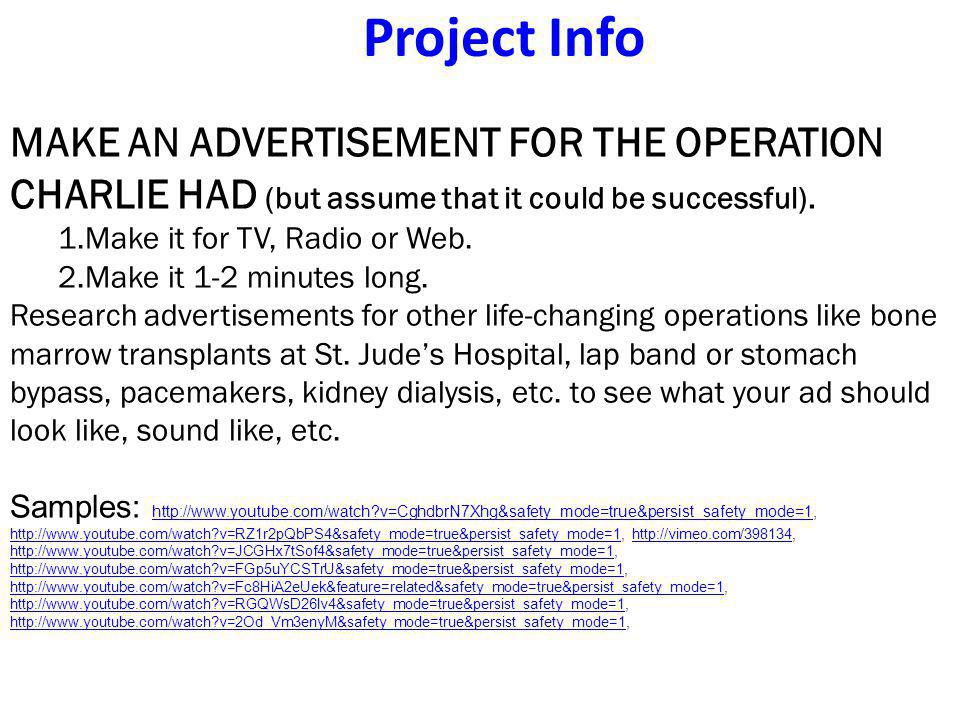Project Info MAKE AN ADVERTISEMENT FOR THE OPERATION CHARLIE HAD (but assume that it could be successful).