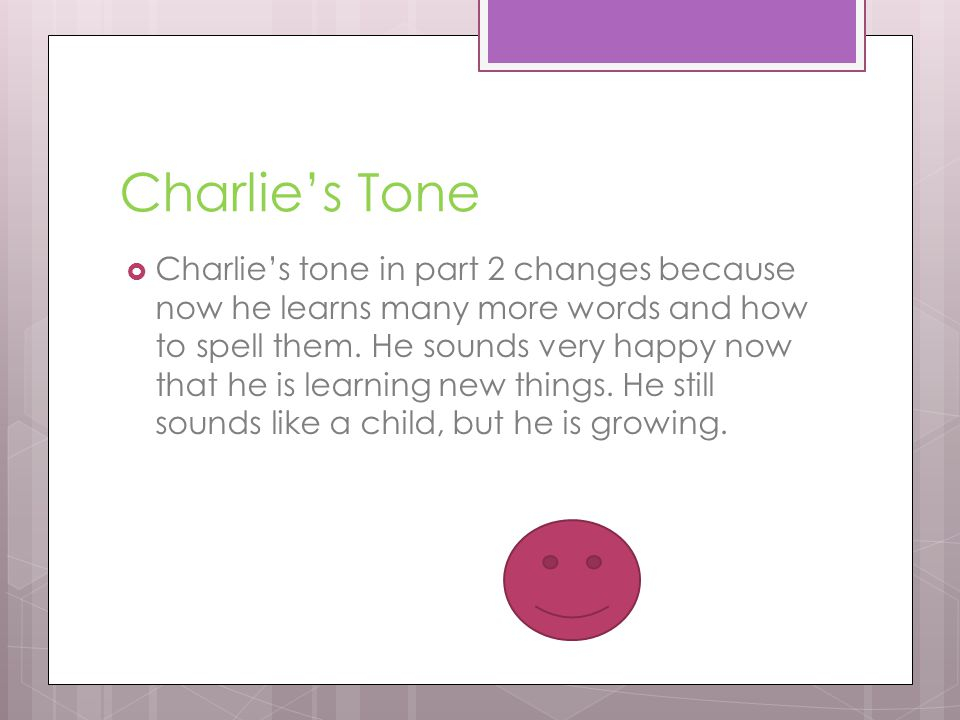 Charlies Diction Charlie begins to use bigger words in this part, he begins to have fun spellings words and learning them from everyone.