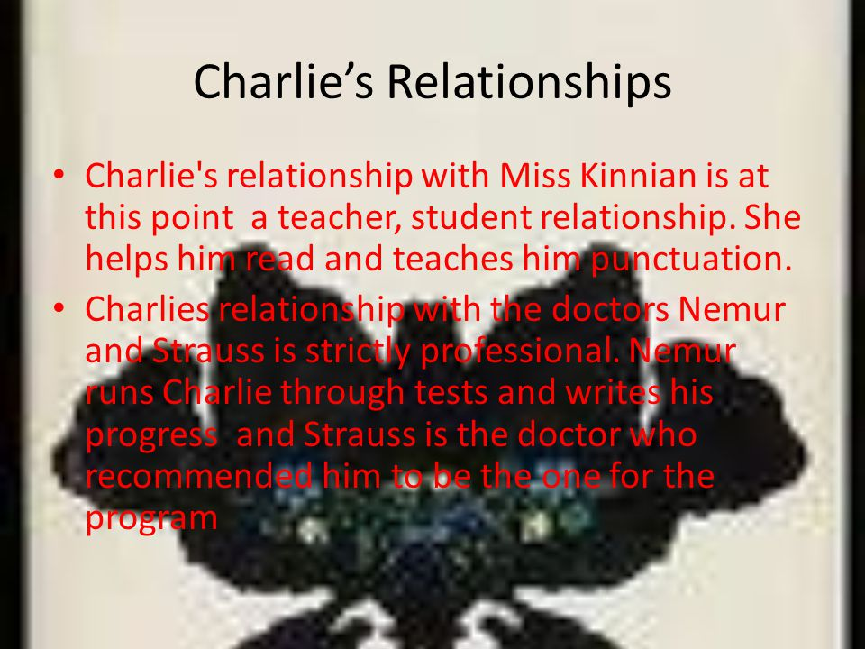 Charlies Relationships Charlie s relationship with Miss Kinnian is at this point a teacher, student relationship.